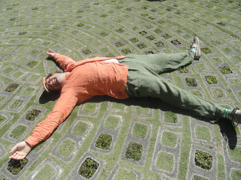 Jonas lying on a cement floor interspersed with plants.